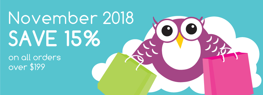 November 2018, save 15% on all orders