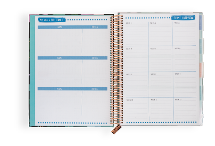 06/09 - Four spreads to record your goals and overviews for each term