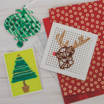 Paper Christmas craft materials.