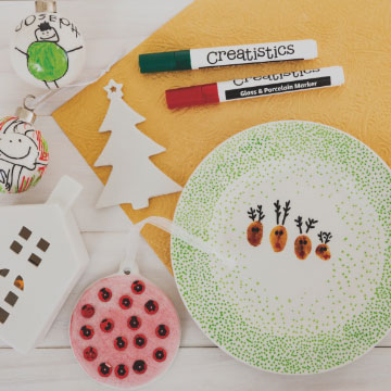 Porcelain Ceramics Christmas craft materials.