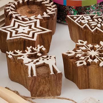 Wood Christmas craft materials.