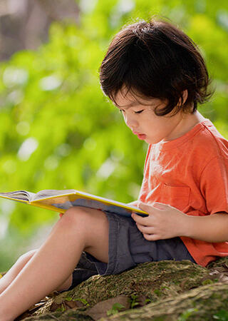 Kid sitting on a rock and reading at a park.