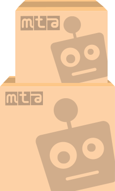 mta branded boxes with robot faces on them
