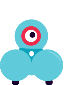Dash and dot robot with a speech bubble coming out of his mouth.