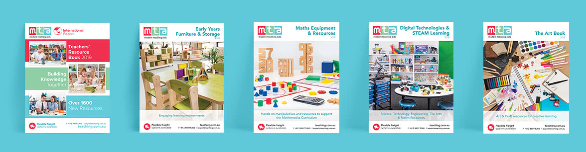 5 catalogues displayed in a row, teacher's resources, furniture and storage, maths and equipment, Digital technologies and STEAM Learning, and the art book.