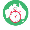 Map of Australia on a green backgroound with a timer overlaying it.