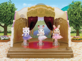 3 Sylvanians posed dancing in ballet theatre product