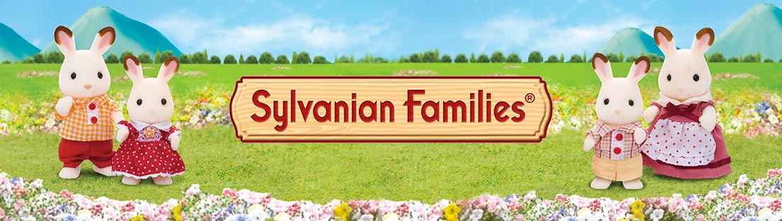 Sylvanian Families with 2 characters standing either side of the logo.