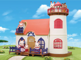 Many Sylvanians occupying a Sylvanian beach lighthouse