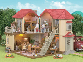 Interactible Sylvanian home showing cross section of the entire house