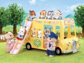 Child Sylvanians exiting their school bus via slippery slide.