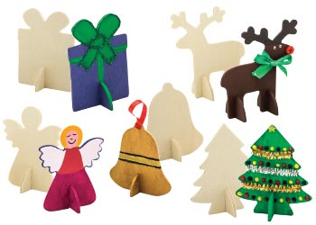 Wooden 3D Christmas Shapes – Pack of 10 - Parent Direct