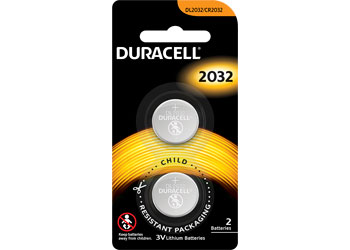 Duracell Lithium Coin Batteries CR2032 Pack of 2