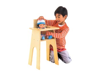 Natural Wooden Doll High Chair
