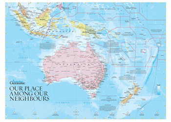 map of australia neighbours 68 x 50cm maps