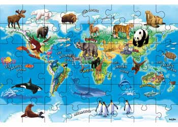 Floor puzzles animals of the world map puzzle 48 piece floor puzzles gumiabroncs Images