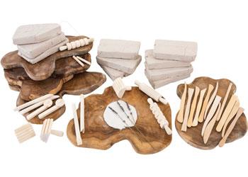 School Smart Wooden Clay Stamp Set Set of 4