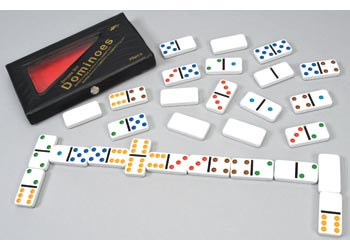 Dominoes 6×6 Coloured Dots 5 x 2.5 x 0.8cm  28 pieces