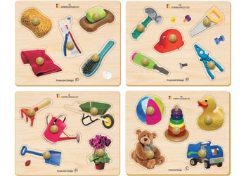 Everyday Objects Wooden Knob Puzzles Set of 4