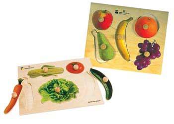 Fruit & Vegetable Knob Puzzle Set of 2