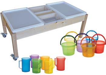 Wooden Sand U0026 Water Table With Pouring Set   Water Tables
