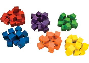 Wooden Counting Cubes – assorted colours – Set of 100 pieces