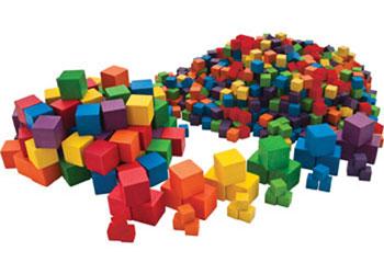 INTERLOCKING Cubes pack 100 1cm coloured plastic cubes for arithmetic /& volume