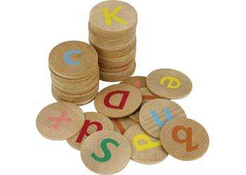 Wooden Alphabet Discs