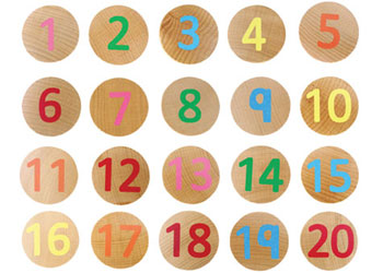 1-20 Wooden Number Matching Discs – 40pc