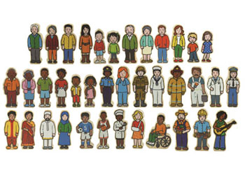Wooden Multicultural People – Set of 42