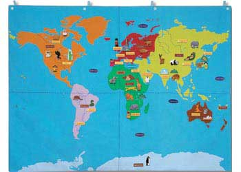 Felt magnetic activities pretend play world wall map cloth 90 x 120cm felt magnetic activities gumiabroncs Images