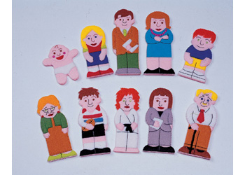Caucasian Family and Friends Finger Puppets -10pc