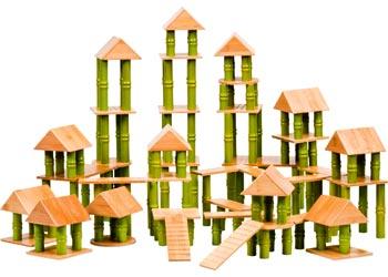 Bamboo Building Blocks 80 Pieces