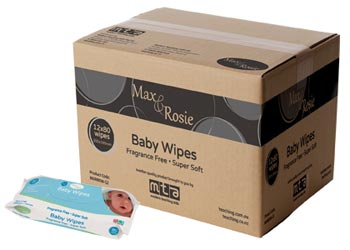 Max & Rosie Baby Wipes Fragrance Free  – 12 x Pack of 80