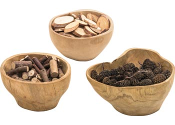Natural Wooden Bowls – Set of 3