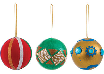 Christmas Papier Mache Balls with Gold String Pk10