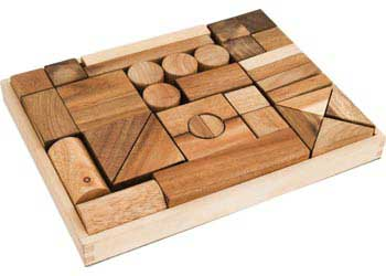 Wooden Blocks in Tray – 34 pieces