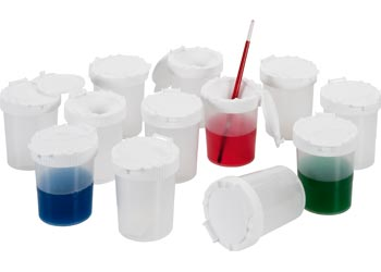 Clear Non Spill Paint Pots – Set of 12