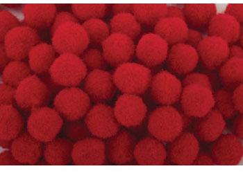 Pom Poms Red  7mm – Pack of 100
