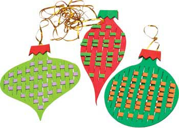 Large Weaving Foam Christmas Ornaments Kit Of 24   Weaving