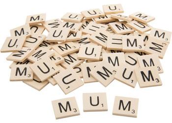 Wooden Letter MUM Tiles – Set of 20