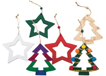 wooden hanging christmas frames pack of 6 hanging decorations