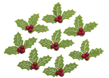 Adhesive Felt Stickers Christmas Holly Pack 20