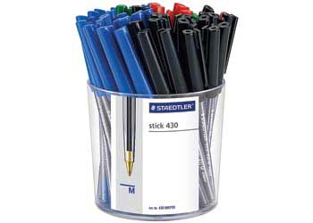 Staedtler Stick 430 Ballpoint Assorted Cup of 50