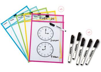 Swap Write Wipe Sleeves & Pens – 10 Pieces