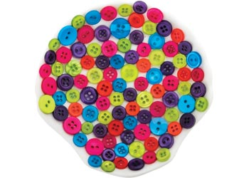 Bulk Assorted Coloured Buttons 600g Tub