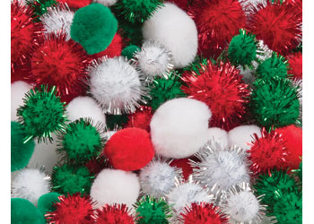 Assorted Christmas Pom Poms – Pack of 300
