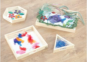 Reflective Mirror Wooden Trays – Set of 4