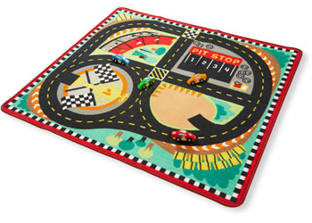 M&D – Round the Speedway Race Track Rug with 3 Vehicles