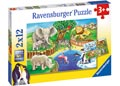Ravensburger - Animals In The Zoo Puzzle 2x12 pieces